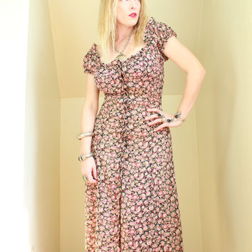 90s - Romantic - Pink & Black Floral - Peasant - Off the Shoulder - Sheer - Button Down - Maxi Dress - Grunge Revival