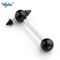 Ayliss Trendy Body Jewelry 2pcs 14G (1.6mm) Stainless Steel Barbell Labret Tongue Piercing Jewelry Gothic Skull Lip Stud Ring