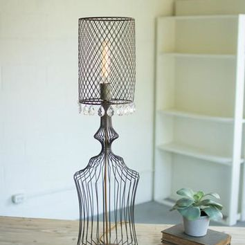 Small Wire Table Lamp With Metal Mesh Shade & Glass Gems