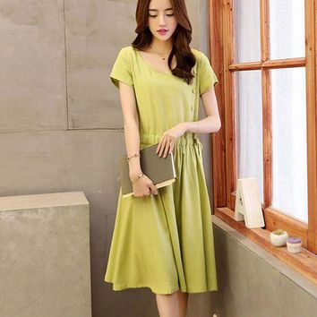 Lace Girl Cotton and Linen Dresses Midi Solid Color Short Sleeve Dress for Women Dress Casual Dress
