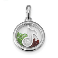 Sterling Silver Rhodium-plated Music Note & Floating Beads Pendant QP2863