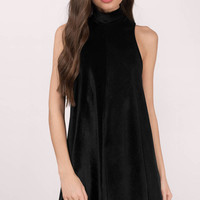 Abbey Corduroy Velvet High Neck Tent Dress