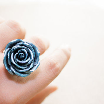 blue silver wax rose ring, polymer clay handmade, cocktail ring