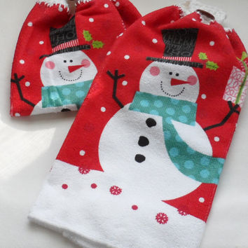 Snowman Kitchen Hand Towels/Crocheted Tops of 100 Percent Cotton Yarn /Soft n Luxurious Winter Themed Red n White Hanging Towels