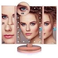Touch Screen LED TriFold Vanity Makeup Mirror