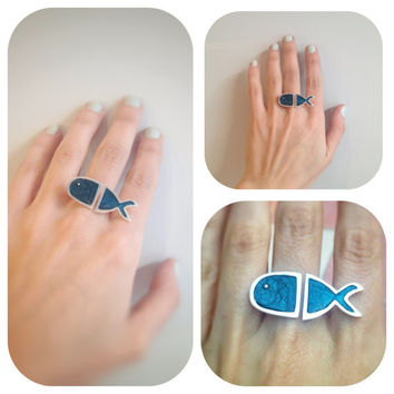 Sea Creature Statement Ring Sparkling Druzy Teal Blue Enamel Sterling Silver Fish Open Band Design Original Design Sea Lover Gift for Her