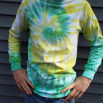 Long Sleeve Tie Dye Shirt, Adult S, Small Tie Dye Swirl Tshirt, Hippie Shirt, Retro Clothing, 60s Fashion, Funky Shirt, Tiedye Tee Shirt