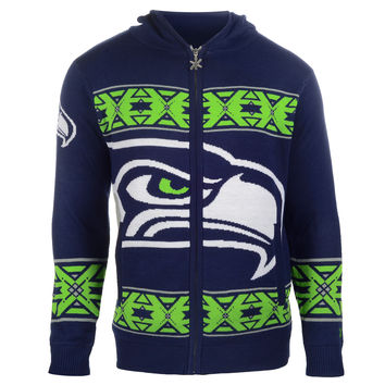 Seattle Seahawks Forever Collectibles KLEW Full Zip Hooded Sweater Sizes M-XXL w/ Priority Shipping
