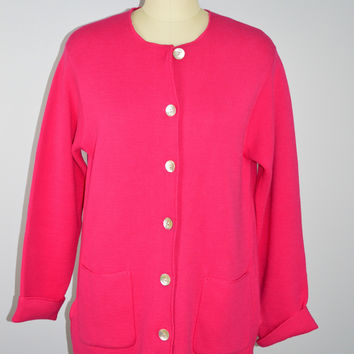 Talbots Hot Pink Cardigan Sweater with Pockets Size Med
