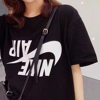 NIKE new chest barb letter print round neck half sleeve T-shirt