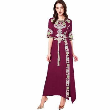 Muslim women Long sleeve Dubai Dress maxi abaya jalabiya islamic clothing robe Moroccan embroidery vintage dress 1712