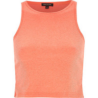 River Island Womens Coral ribbed racer back crop top
