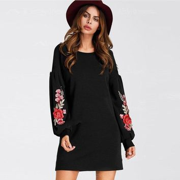 Long Sleeve Dresses   A Line   Plain  Embroidered Flower Patch Swing Tee Dress 2018 Hot Sell Black High Neck Fall  Dresses