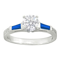 Engagement Ring - Blue Sapphire Baguettes and Round Diamonds Engagement Ring setting 0.64 tcw. In 14K White Gold - ES131BS