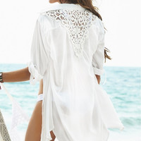 Shirt ~ Boyfriend Shirt, Long White Cotton & Lace Swimsuit Cover Up, Blouse, Cardigan Feminine Crochet Detail.