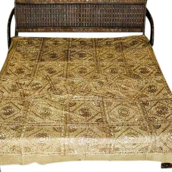 Vintage Tapestry Khaki Pacca Hand Embroidered India Bedspreads Throws Coverlet