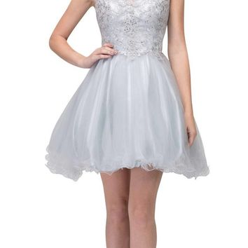 Silver Homecoming Short Dress Appliqued Bodice