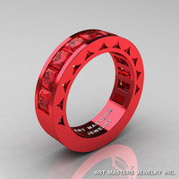 Mens Modern Italian 14K Red Gold Princess Rubies Channel Cluster Sun Wedding Ring R274-14REGR