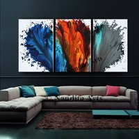 """Blue Wall Art, Modern Red Abstract Painting on Canvas 72"""" Original Acrylic Painting, Oil Abstract Painting, Contemporary Wall Art Home Decor"""