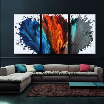 "Blue Wall Art, Modern Red Abstract Painting on Canvas 72"" Original Acrylic Painting, Oil Abstract Painting, Contemporary Wall Art Home Decor"