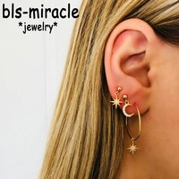 Bls-miracle Fashion 2018 Crystal Earrings For Women Boho Big Star Moon Gold Color Handmade Drop Earring Party Gift Jewelry New