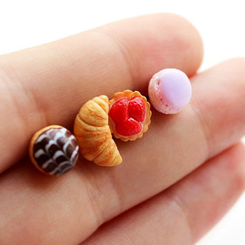 French Dessert Stud Earrings - Set of Earrings Post - Small Ear Studs - Food Jewelry