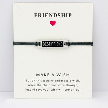 My Best Friend Forever Hope Faith Love Charm Card Bracelets Gray Brown Blue Wax Cords Women Men Girl Jewelry Christmas Gift