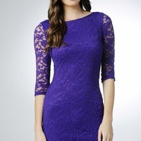 Three-Quarter Sleeve Lace Purple Dress - AX Paris USA-Fashion Dresses, Black Dresses, Evening Dresses and Party Dresses