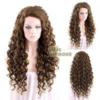 "Long Spiral Curly 26"" 2 Tone Dark Brown Lace Front Wig Heat Resistant"