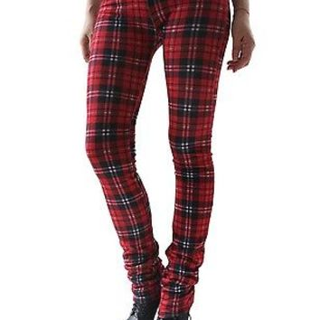 RTBU Punk Rocker Ultra Long Slouch Red Tartan Plaid Warm Cotton Leggings