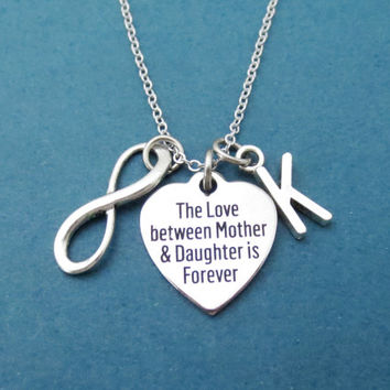 Personalized, Letter, Initial, The Love between Mother & Daughter is Forever, Inifinity, Charm, Silver, Necklace, Mother, Mom, Daughter