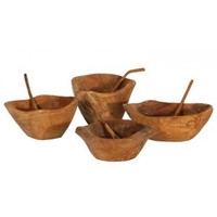 Mini Wood Bowls with Spoons