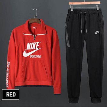 NIKE Fashionable Women Men Casual Print Top Sweater Pants Sweatpants Set Two-Piece Sportswear Red