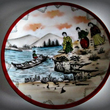 Antique Japan Japanese porcelain Geisha Girl plate Signed, home decor, kitchen decor