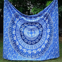 Apoorva's Blue Ombre Mandala Tapestry, Hippy Throw Mandala Tapestry Indian Wall Hanging, Tapestry, Bohemian, Tapestries, Queen Bedsheet Bedspread Hippie.