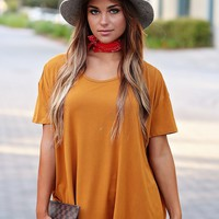 Gold PIKO Strappy Back Short Sleeve Top