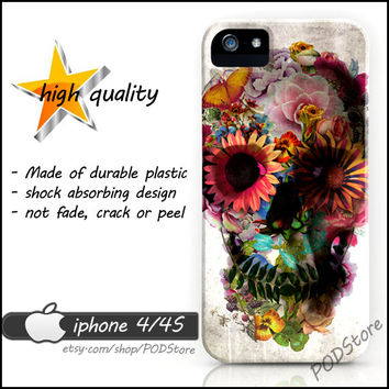 Flora Skull iphone 4 case Floral Skull iphone4 casing Day Of The Dead Rare