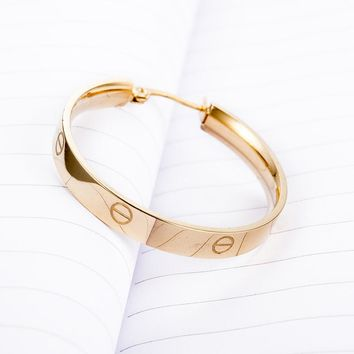 Stylish Metal Gold Ring Korean Ladies Earrings [11337094151]