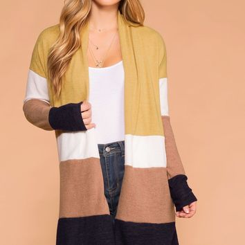 Lined Up Color Block Cardigan