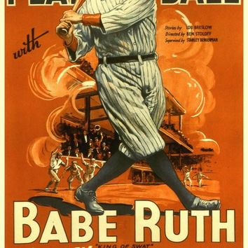 Play Ball With Babe Ruth 27x40 Movie Poster (1920)