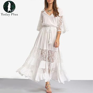 Today Plus 2017 Long Summer Fashion Sexy Robe Women Dresses Sundress Boho Maxi Beach Loose Lace White Casual Dress Style Brand