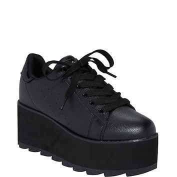Y.R.U. Black Lace-Up Platform Sneakers
