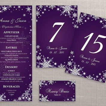 DIY Printable Wedding Table Package Deal Templates | Editable MS Word file | Instant Download | Winter White Snowflakes Dark Purple