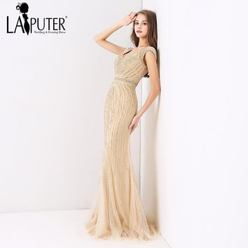 LAIPUTER 2018 New Arrival Gold Sexy Mermaid Cap Sleeves Heavy Beading Luxury Formal Long Evening Prom Dresses