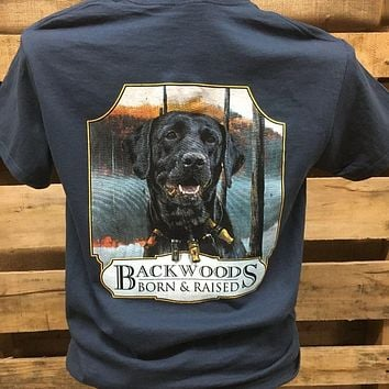 Backwoods Born & Raised Lab Dog with Duck Calls Bright Unisex T Shirt