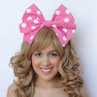 Minnie Mouse Bow Clip Big Bow Hot Pink Disney Bow Bow Clip White Cosplay Wedding bow Bridal hair bow Pinup bow Rockabilly bow Birthday Theme