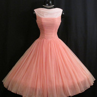 Vintage 1950's 50s Coral Salmon Pink Ombre Ruched Chiffon Organza Party Prom Wedding Dress Gown