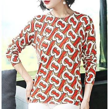 Burberry Fashion New More Letter Print Long Sleeve Top Women