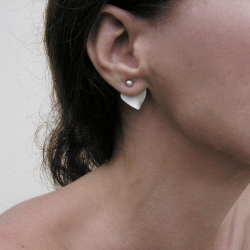 Ear jackets, Sterling silver, front and back earrings, geometric, minimalist flower and petal