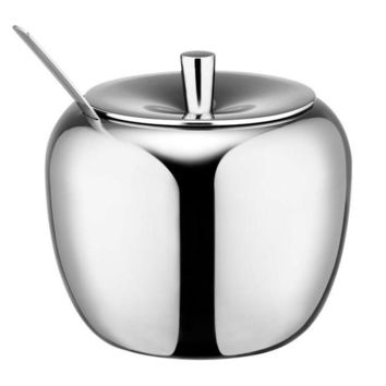 DCCKFS2 Realand 18/8 Stainless Steel Apple Sugar Bowl Seasoning Jar Condiment Pot Spice Container Canister Cruet with Lid and Spoon